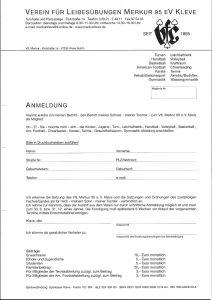 Anmeldung VFL Merkur